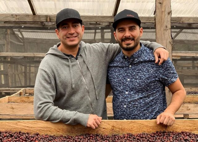 Martin Mayorga (left) from Mayorga Organics visits Max Perez (right) from the farm La Hermosa Coffee while sourcing coffee in Acatenango Valley, Guatemala